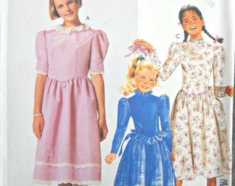 McCall's 2848 Girls Dress Pattern, Sizes 7, 8, 10,  Vintage 1986