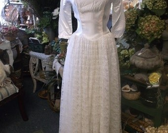 1950 Satin And Lace Vintage Wedding Gown