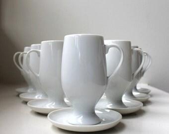 Mid Century Espresso Set 8 Cups / Saucers Demitasse La Gardo Tackett Schmid Porcelain 1960's