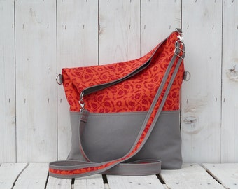 Floral Women's Crossbody Bag, Canvas Messenger Tote, Red and grey summer foldover bag, organic canvas shoulder bag, unique gift for women