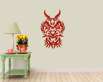 Dragon Mask Decal | Tribal Tattoo | Vinyl Wall Sticker