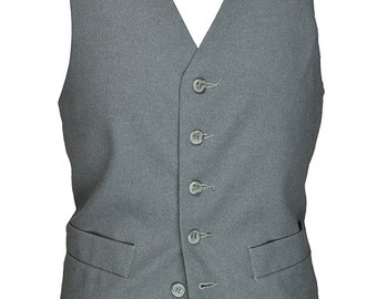 38 R 38 Regular Men's Vintage Levi's Steel Blue Gray Vest with Cream Back and Adjustable Waist