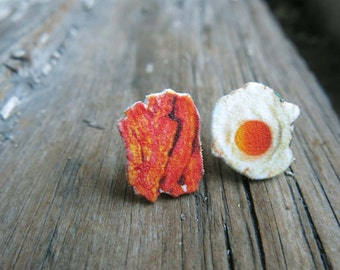 Food Bacon and Eggs Earrings Geekery Stud Post Fun Kitsch Quirky Jewelry for Her Novelty Gag Gift Food Lover Meat Egg Chef Cook Present