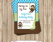 Monkey Birthday Party  PRINTABLE Invitation 5x7 4x6 blue green brown BOY