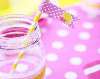 Pink Lemonade Straw Flags Birthday Party  PRINTABLE  yellow pink lemons  girls first birthday INSTANT DOWNLOAD diy