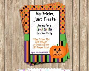 DIY Halloween Pumpkin Fun Party  PRINTABLE Invitation 5x7 Orange black purple green