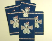 White West Highland Terrier Vintage Playing Cards Set of Six for Scrapbooking Paper Crafts Blue Plaid