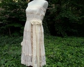 Custom Example - Made to Order - Boho Dress - Tattered Prairie Sundress  - Shabby Chic  - Rustic Country Wedding Original One of a Kind