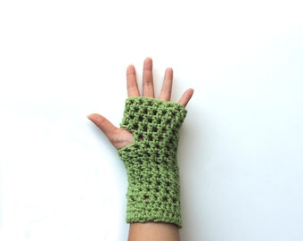 Fingerless gloves, Fingerless mittens, Green Crochet fingerless glove,   long fingerless glove, arm warmers, christmas gift