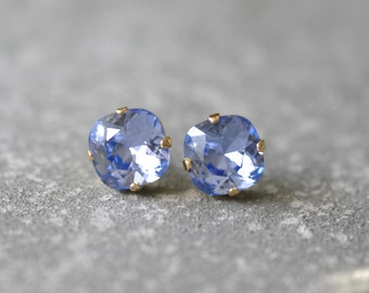 French Lavender Earrings Super Sparklers Square Swarovski Crystal French Lavender Stud Earrings Mashugana