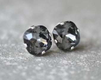 Gray Earrings Swarovski Crystal Grey Square Stud Earrings Mashugana