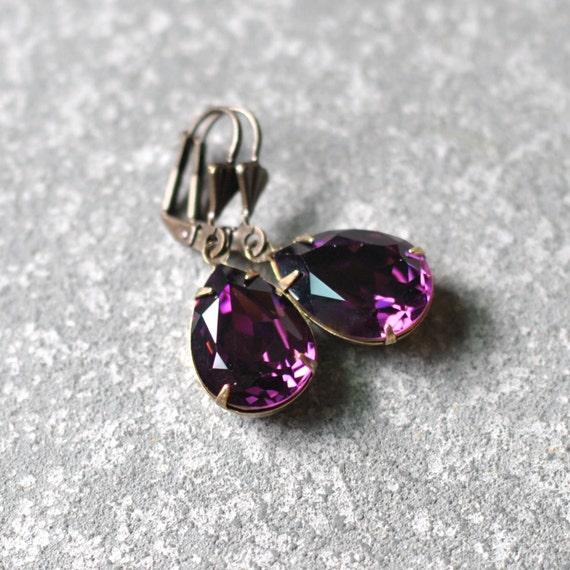 Amethyst Purple Earrings Swarovski Crystal Earrings Pear Tear Drop Rhinestone Dangle Earrings Duchess Pear Mashugana
