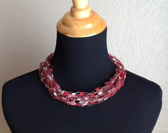 Red and Silver Ribbon Necklace with Silver Clasp