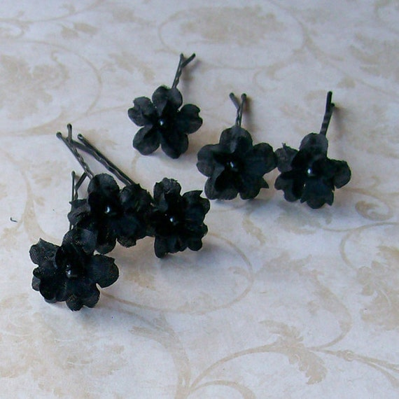 Black Small Flower Hair Pins for Wedding, Prom, Gothic Hair Accessory