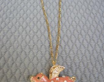 Flying Enameled Pink Piggy Off to Market Pendant Necklace