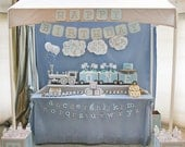 ABC Train Birthday Party in Baby Blue and Grey - full printable collection set of seven items - best value party package - you print