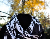 Tribal print Native American Black and White Cotton infinity Scarf Cowl Neck Jersey Knit Arrows