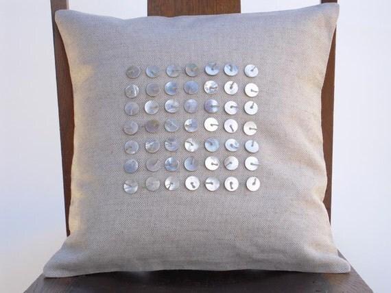 Designer Pillow, Vintage Heishi, Handmade, Decorative Pillow Cover, Contemporary, Grid Design, Designer Made, Hemp Twine, Natural Linen
