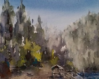 "Landscape, lake, sierra nevada ,california art. Bass Lake- original watercolor painting (6"" x 6"")."
