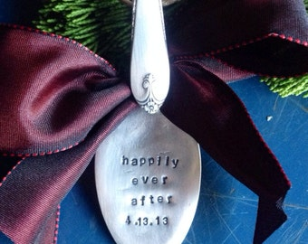 Christmas, Wedding or Engagement Hand Stamped Vintage Spoon Happily ever after Ornament