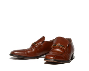 Men's Dress Shoes by JC Penny Brown Leather Striped Bit Loafers size 10 D/B