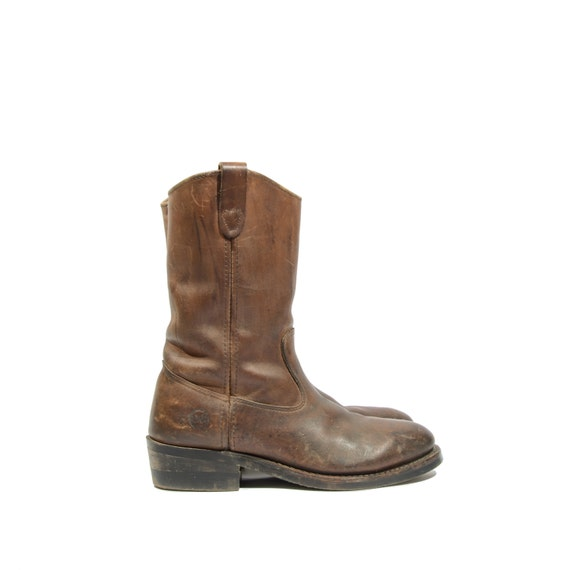 h hh brown leather pull on steel toe work boots with