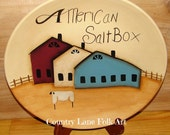 Hand painted plate, decorative plate, salt box house, prim home decor, country decor, American salt box, home decor, Americana decor,sheep