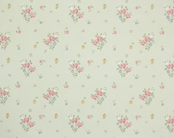 Vintage Wallpaper by the Yard 70s Retro Wallpaper - 1970s Pink Mini Floral Rose Bouquets on Beige