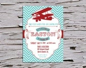 Vintage First Birthday Party Invitation - Airplane - Time Flies - Red - Maroon - Teal - Navy - Baby Blue - Picture
