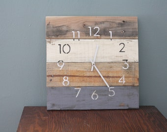 Modern Beach house clock.  MODERN Numbers.  Rustic Yet Hip.  Recycled, Reclaimed, Repurposed Pallet Wood Wall Clock.  Custom Color.