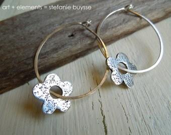Daisy - Hoop Earrings - Handmade - Sterling Silver - PMC - Fine Silver