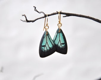 Common Imperial Blue Butterfly Wings Earrings - Carved Walnut Hardwood & Hand Painted - 14 Karat Gold Filled Findings