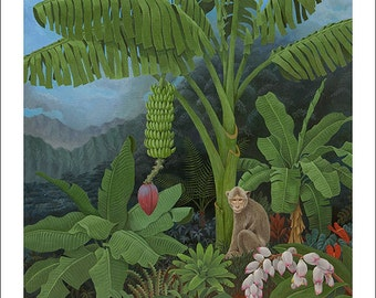Banana Tree with Monkey Giclee Print