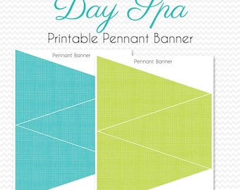 Pennant Banner, Teal and Lime Party Decor, Matches Day Spa Theme, Bridal Shower Decoration, Bunting  -- Printable, Instant Download