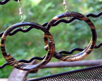 Vintage and Handmade Black and Gold Twisted Twig Dangle Hoops French Hooks Tribal Natural Boho Vine Earring