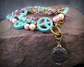 Bohemian Festival Wrap Bracelet or Hippie Necklace  'Love n Peace' - Pink lavendar turquoise strands - Adjustable
