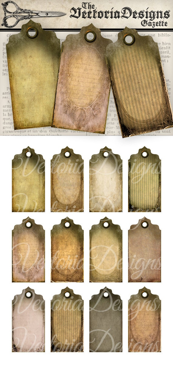 Shabby Tattered Tags printable paper craft art hobby crafting scrapbooking instant download digital collage sheet - VD0044