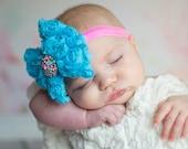 Turquoise Bow, Baby Headband, Newborn Headband, Infant Headband, Turquoise Headband, Cake Smash Headband