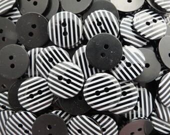 Black 10 x 15mm High Quality Stripe Stripy Buttons