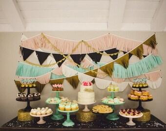Tissue Fringe Garland // baby shower decorations // dessert table backdrop // bridal shower decorations // photo booth backdrop // fringe