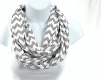 Womens Infinity Scarf Gray and White Chevron Cotton Knit Double Loop Scarf