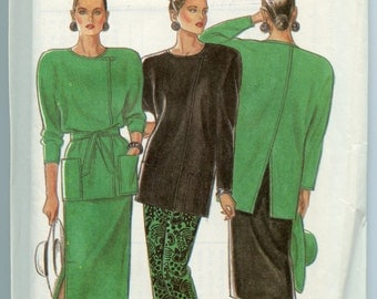 1980s New Look 6848 Sewing Pattern Misses Tunic Top or Jacket & Skirt Sizes 8 10 12 14 16 18 UNCUT