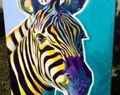 Zebra, DawgArt, Wildlife Art, Zebra Art, Zebra Painting, Zoo Animal, Zoo Animal Art, African Wildlife, Original Painting