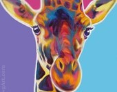 Giraffe, Pet Portrait, DawgArt, Zoo Animal Art, Giraffe Art, Original Painting, African Wildlife, Colorful Giraffe Art, Giraffe Painting