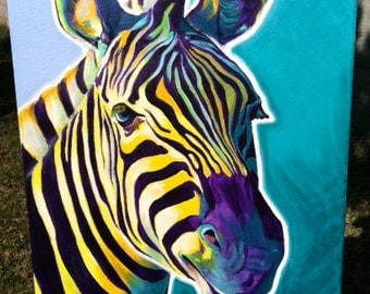 Zebra, DawgArt, Wildlife Art, Zebra Art, Zebra Painting, Zoo Animal, Zoo Animal Art, African Wildlife, Original Painting