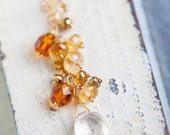 Citrine Cluster Necklace, Yellow, Citrine Necklace, One of a Kind, Honey, Orange, Dainty Gold Necklace, SALE, Sale Necklace