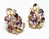 Crown Trifari Pat Pend - Sparkling Lilac and Rhinestone Vintage Earrings for MOM