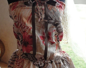 Boho Bohemian tropical top or dress with ruffles