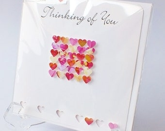 Handmade 3D Thinking of You Card, Personalised, Personalized Sympathy Card, Thoughts Are With You, Bereavement Card, Condolences Sorry BHE09