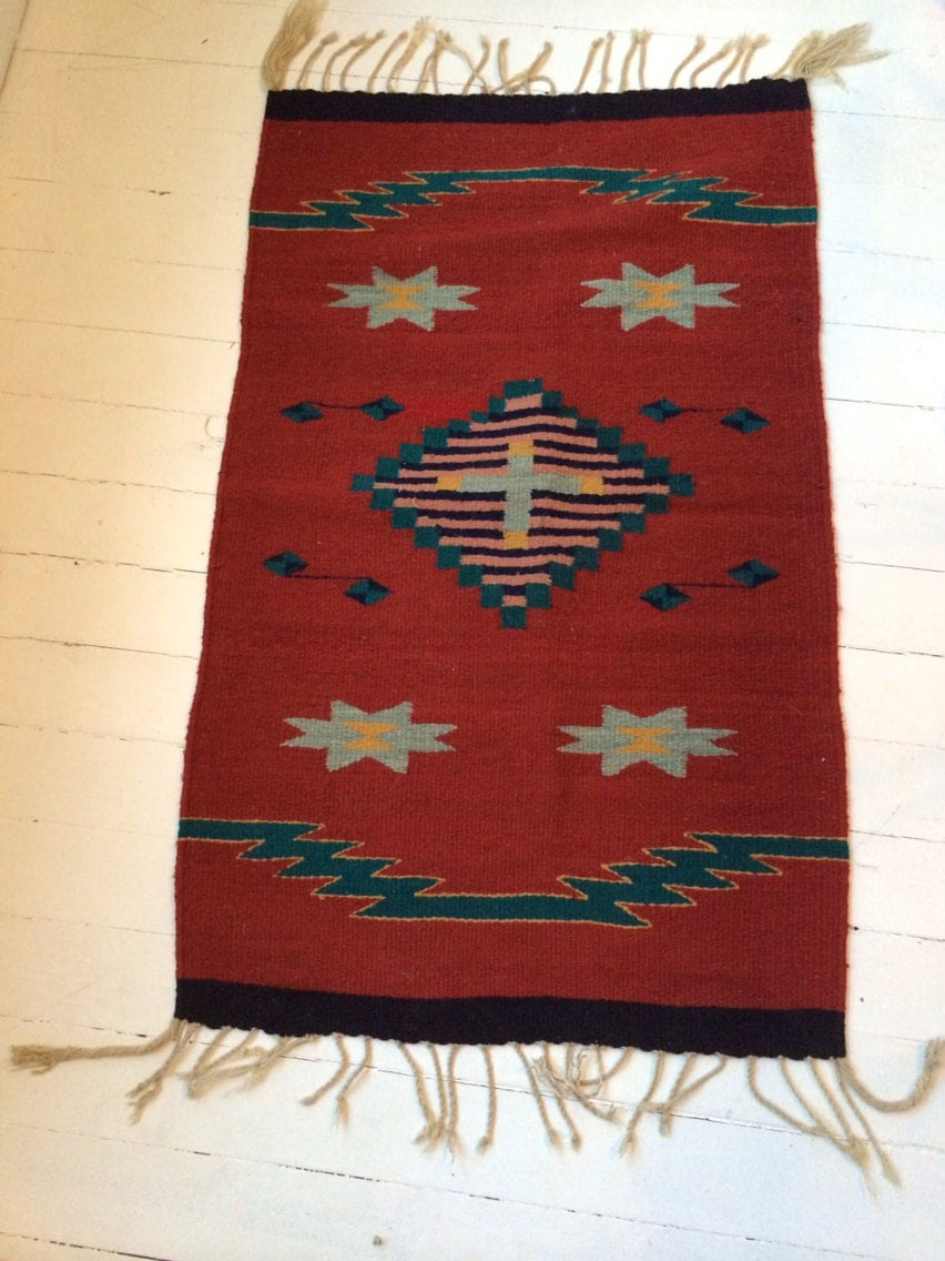 Vintage Wool Rug Woven Native American By Oneluckyweed